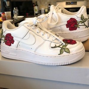 Nike Air Force 1s embroidered roses